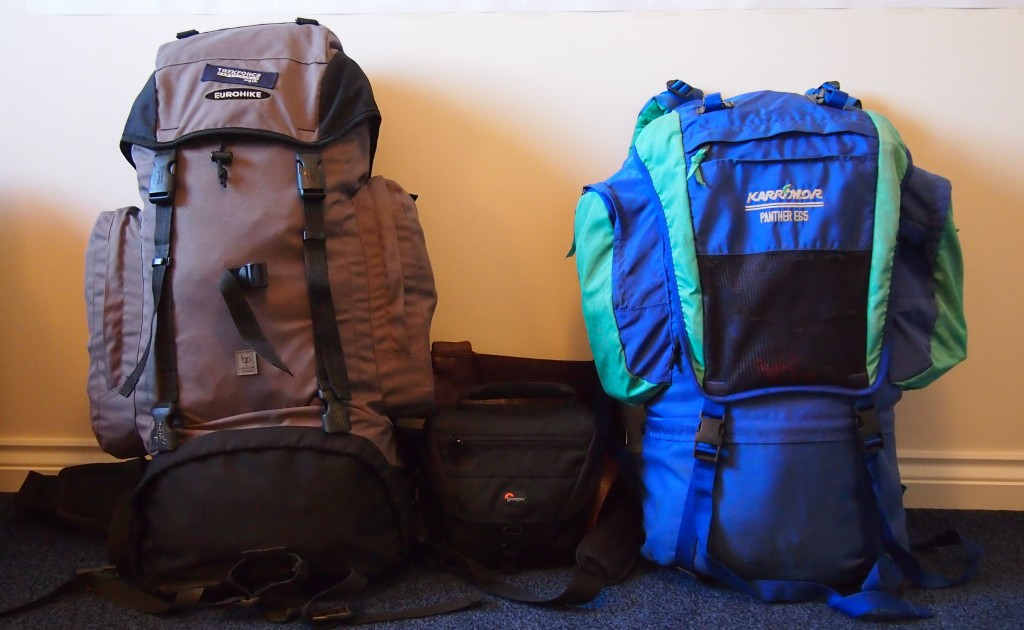 Our large rucksacks with space to spare from our packing dry run 4 months before we set off