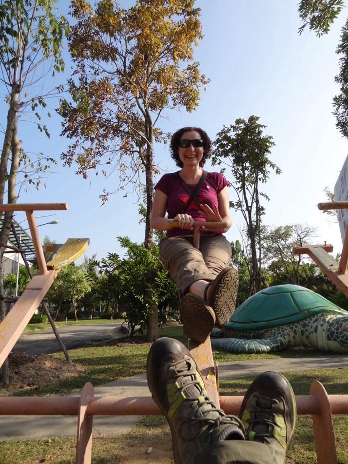 Julie and I on the seesaw, Royal Flora Ratchaphruek park