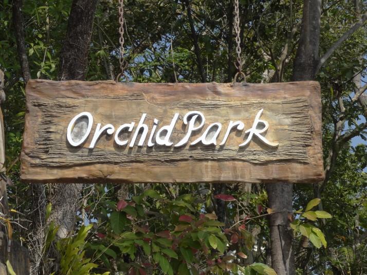 Orchid Park sign, Royal Flora Ratchaphruek Park