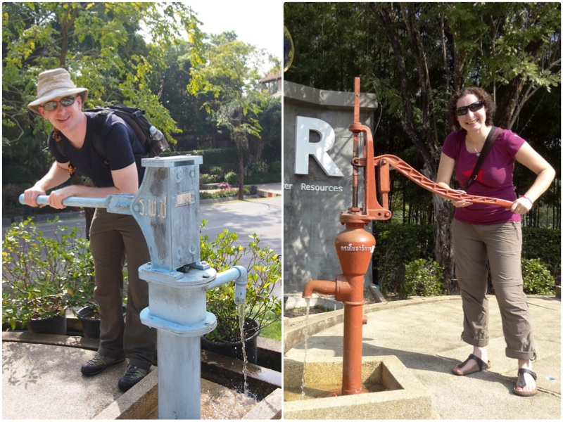 Julie and I pumping water by hand in the Department of Groundwater Resources garden