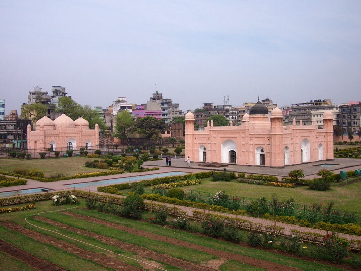 Lalbagh Fort, Dhaka. Bibi Pari's tomb in the foreground and the Lalbagh Mosque to the left