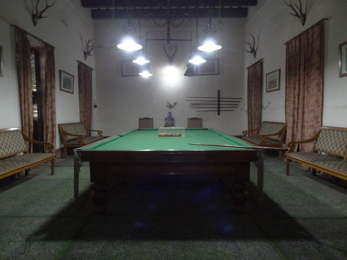 The billiard room, one of only a handful of restored rooms in the Pink Palace