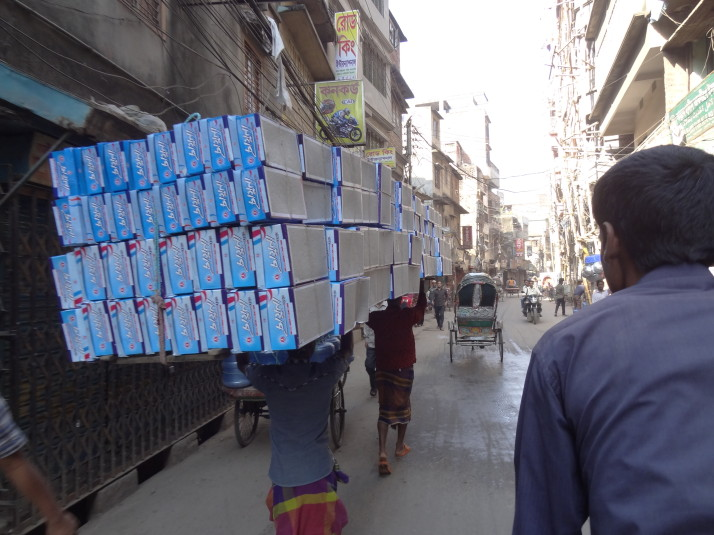 Boxed shoe deliveries in Old Dhaka