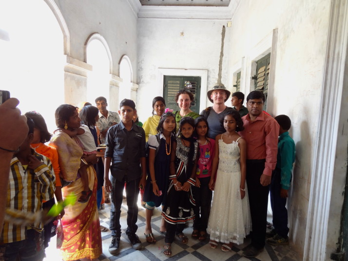 Being mobbed for photographs in Natore's rajbari. For the Bangladeshi tourists, we were often the main attraction!