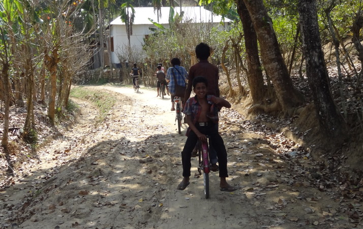 Local kids joining us for a bike ride