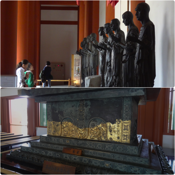 Yakushiji Temple artefacts, cast iron statues of revered monks and the Pedestal of Yakushi Nyorai which is believed to symbolise the Silk Road