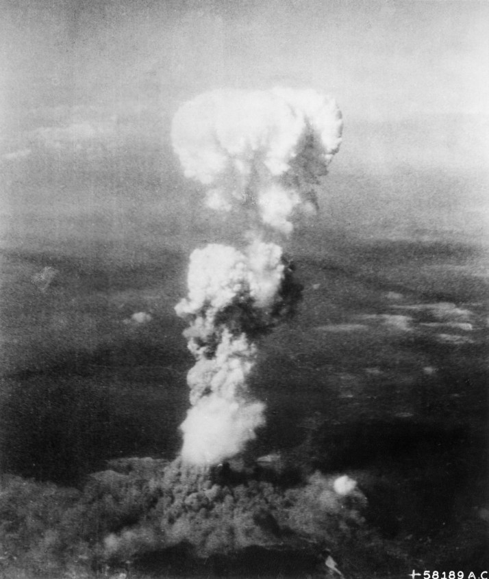 The atomic cloud over Hiroshima, 6th of August, 1945. Source: Enola Gay Tail Gunner S/Sgt. George R. (Bob) Caron (via Wikipedia)