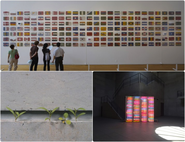 Benesse House Museum - Some of our favourite pieces from the exhibition. Yukinori Yanagi 'The World Flag Ant Farm' (source: Benesse Art House Site); Bruce Nauman '100 Live and Die'; Yoshihiro Suda 'Weeds' (source: Big in Japan)