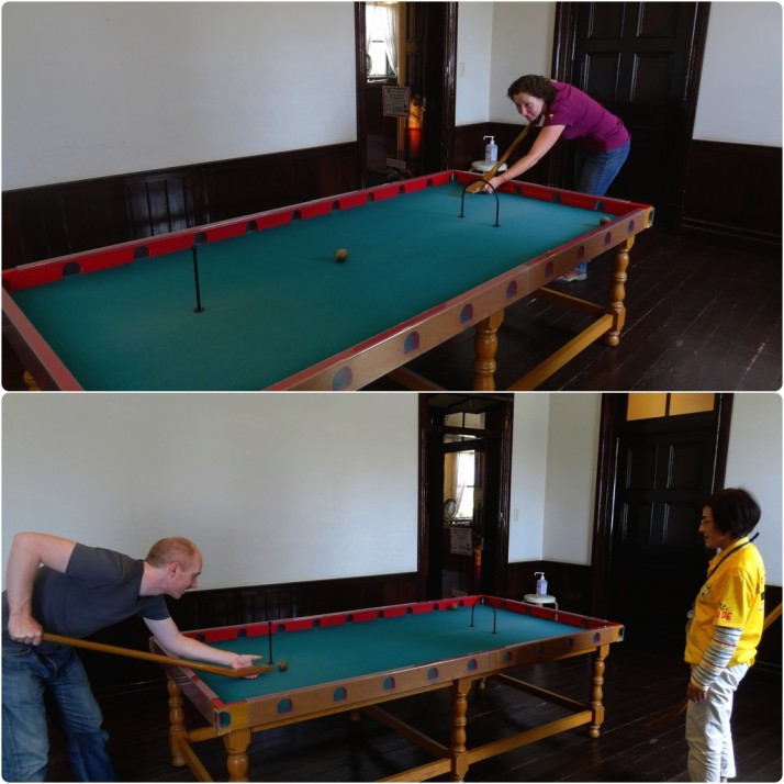 The Dutch also brought billiards - more pockets than a magician's jacket. Julie beating me, and the attendant beating me