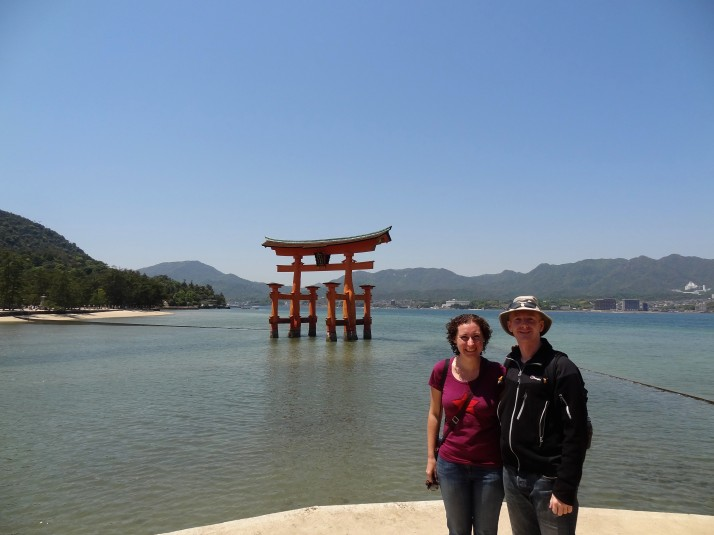Us with the famous floating torii of the Itsukushima Shrine