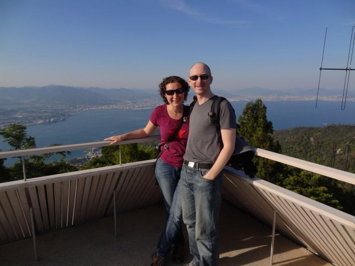 Us at the top of Mount Misen, Itsukushima Island