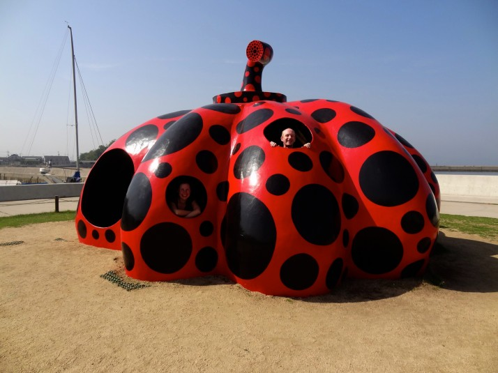 Naoshima is covered in art, like this giant red pumpkin by Yayoi Kusama that greets you at the ferry terminal