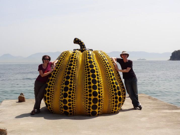 Us with another of Yayoi Kusama's pumpkins