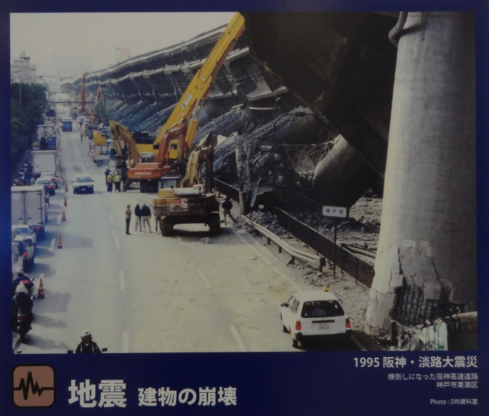 Collapsed sections of the Hanshin Expressway caused by the Kobe Earthquake. Source: My photo of a photo on display in the museum