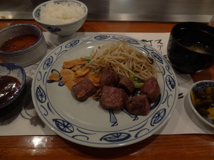 Kobe beef, in Kobe, cooked in the teppanyaki Kobe style