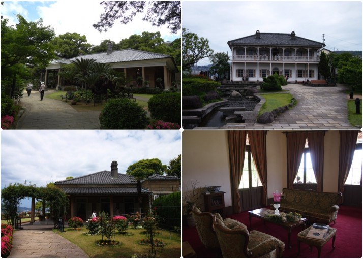 Glover's neighbours; Clockwise from top left: Former Alt Residence; Former Mitsubishi No. 2 Dock; The Sitting Room of the Former Alt Residence; Former Ringer House