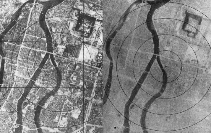 Hiroshima before and after the first use of an atomic bomb against a foreign nation. Sources: Wikipedia
