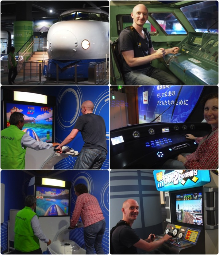 Good Times. Clockwise from top left: First generation Shinkansen; Me at the controls; Julie taking charge of a much more modern tram; Me on the Shinkansen arcade game / simulator (which I was rubbish at! - Sorry Uncle Ken!); Julie on the Jet Ski arcade; Me on the Jet Ski arcade
