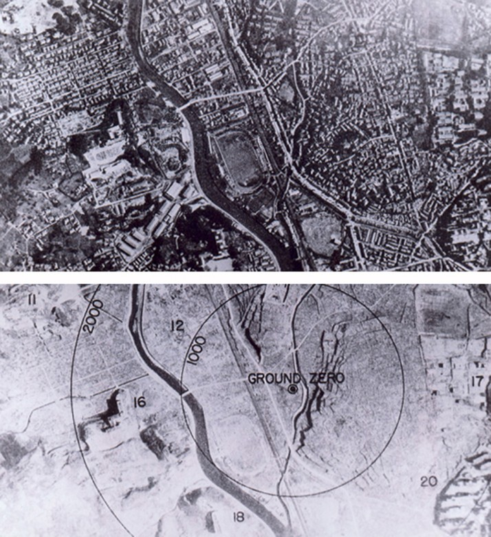 Nagasaki 1945 - Before and after the atomic bombing (Source: Wikipedia)