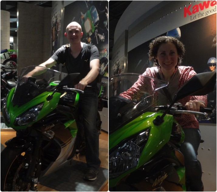 Julie and I take turns sitting on the Kawasaki Ninja 400 Special Edition