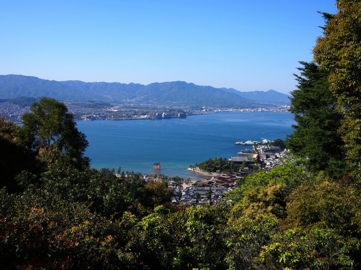 Itsukushima Shrine and Hatsukaichi in the background, as viewed from the top of Mount Misen