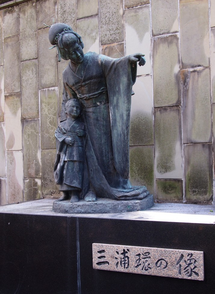 Statue of Tamaki Miura, Japan's most famous Madame Butterfly
