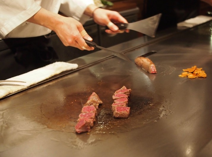 Our chef preparing the famous Kobe beef. Mouth watering level at the time this photo was taken: 11