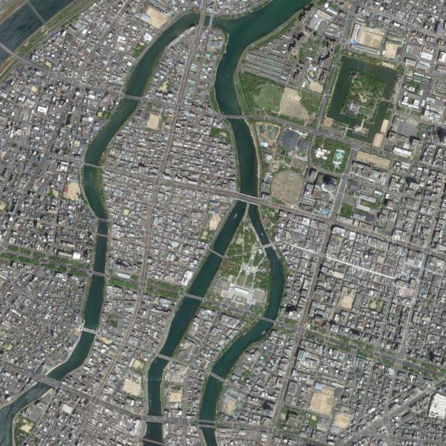 Rebuilt - Hiroshima today. Source: Google maps (via maps-for-free.com)