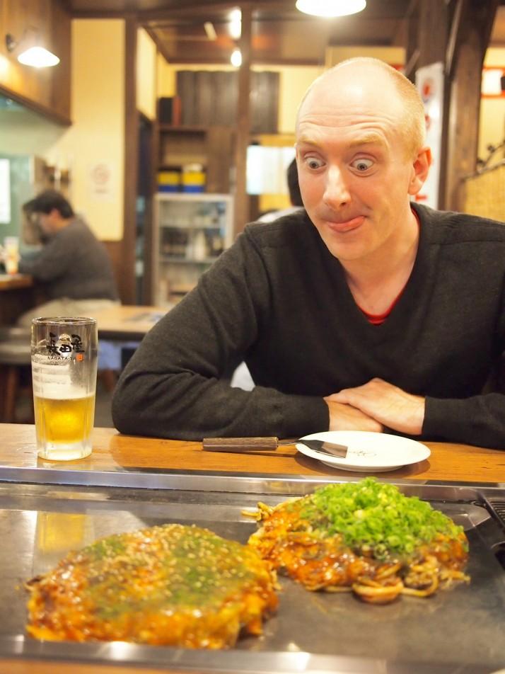 Andrew waiting to eat okonomiyaki
