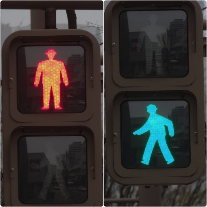 It's all in the details. Pedestrian crossing lights in Japan are properly attired