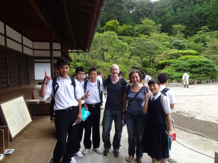 Us with a group of schoolchildren having just practiced their English with us in Kyoto. We saw so many groups of kids that school in Japan must consist entirely of day trips!