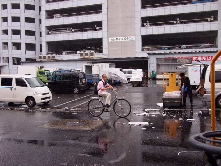 Japanese man on a bicycle holding an umbrella. Even if the bicycle has a bell, the Japanese are too polite to use it, instead they purposefully neglect their bicycle so the chain and gears are rusty and the brakes squeal so you as a  pedestrian can hear them coming up behind you