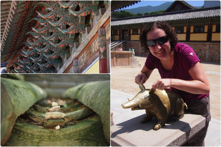 Some of our favourite things at the Bulguksa Temple: beautifully carved and decorated eaves; Julie playing with the bronze pig; South Korean cairns, which are said to bring good luck, surround Nahanjeon