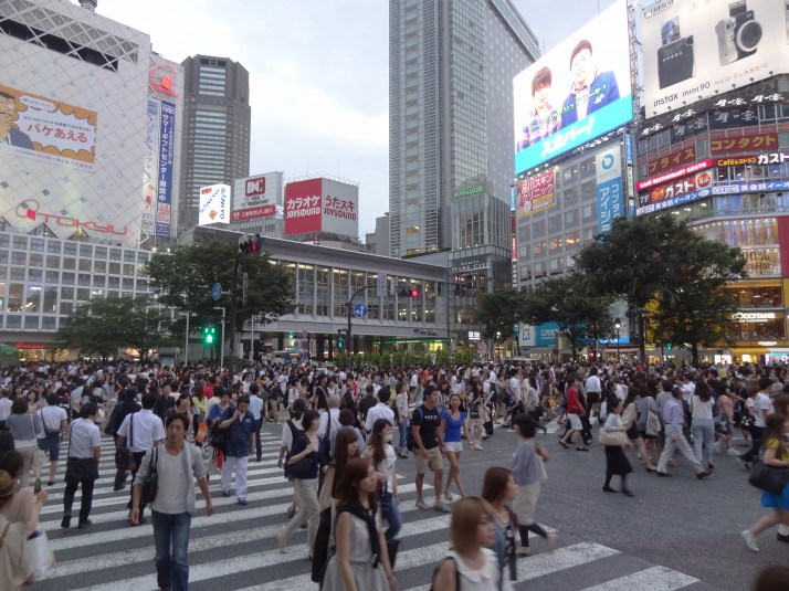 Shibuya's scramble crossing, one of the busiest in the world and a common meeting place before a night out