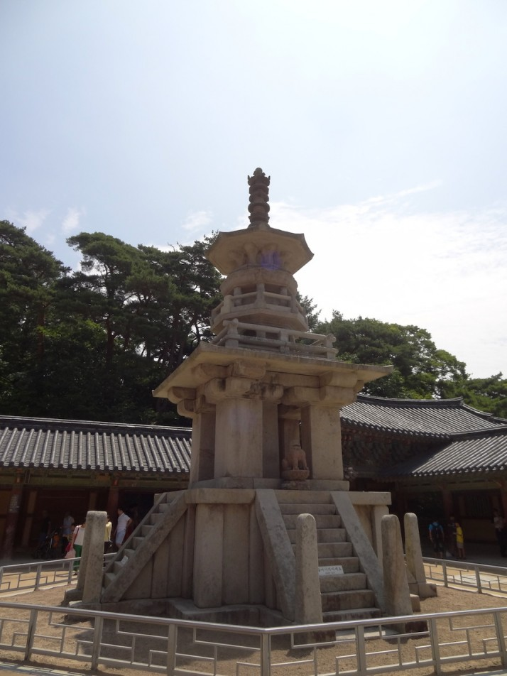 One of a pair of UNESCO recognised stone pagodas in the Gulguksa temple courtyard