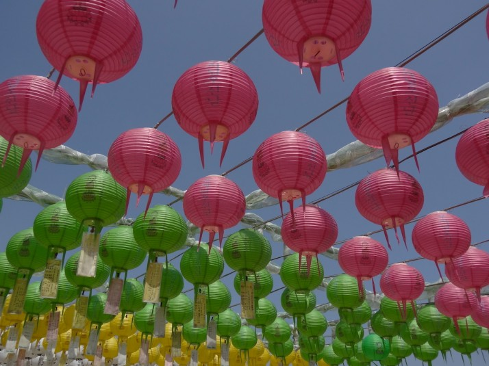 Brightly coloured lanterns outside Seokguram grotto