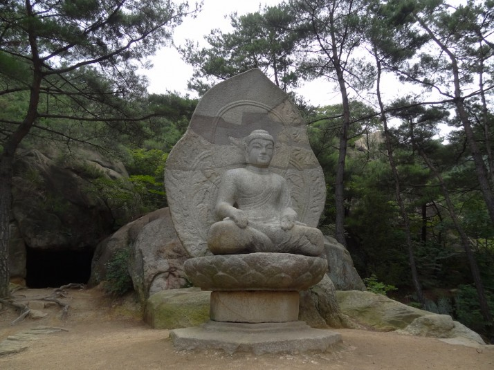 Stone seated Buddha in Samneung Valley
