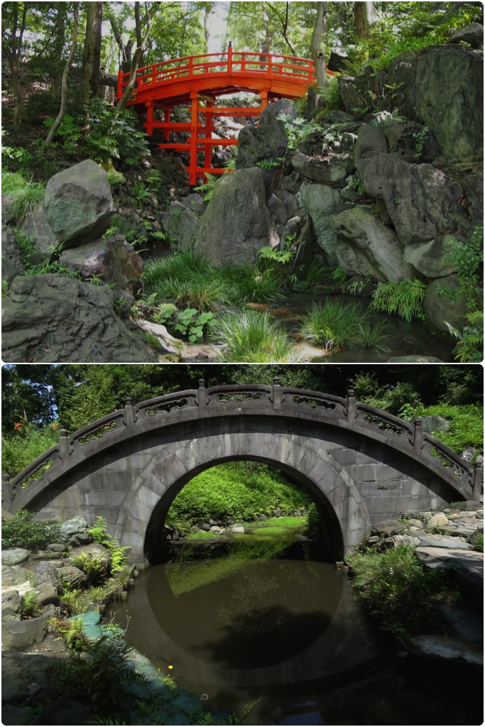 "Koshikawa Korakuen is known for its bridges: The Tsutenkyo Bridge; and the Engetsukyo or ""Full-Moon"" bridge"
