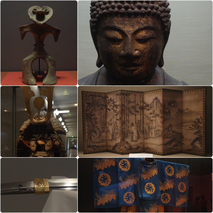 "Exhibits in the Tokyo National Museum, Honkan building (clockwise from top left): Dogu (clay figurine) Jomon period 2000-1000 BC; Seated Yakushi Nyorai, Heian Period 9th century; Seven Sages in the Bamboo Grove folding screen, Muromachi period 16th century; Kariginu (Noh theatre costume), Edo period 18th century; ""Kanze Masamune"" Katana Sword, Kamakura period 14th century; Domaru Type Armour, Muromachi period 15th century"