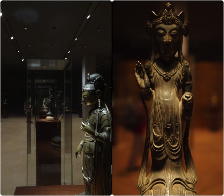 "The Gallery of Horyuji Treasures. View of one of the many rows of Buddha figurines with ""Standing Kannon Bosatsu"" at the forefront, Asuka period 7th century; Closeup of a different depiction of Standing Kannon Bosatsu, Asuka period 7th century"