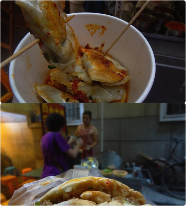 "Our side-street lunch just off Nanjing Road - fried dumplings with a ""little"" bit of spicy sauce, and pork rolls which we'd missed after eating them every day in Datong!"