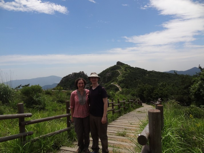 Us hiking the Geumjeong Fortress walls in Busan