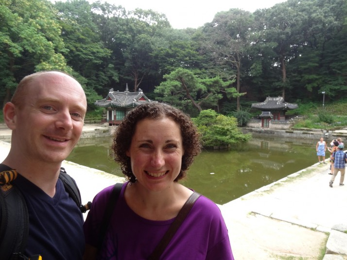Us in the Secret Garden. In the background is the Buyongjeong pavilion, a recently restored National Treasure of Korea