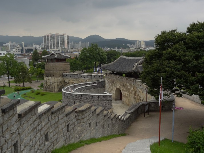 Hwaseong Fortress walls, looking down at the Hwaseomun west gate