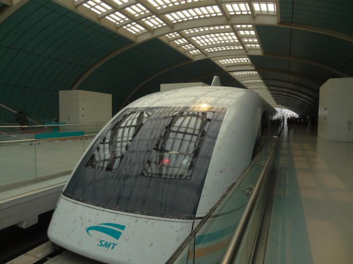 The Shanghai Maglev, one of only 3 Magnetic Levitation commercial train services in the world, also holds the record for the fastest train in the world - it's levitation, Holmes!