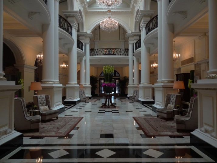 The cool and inviting foyer of the Waldorf Astoria, Shanghai