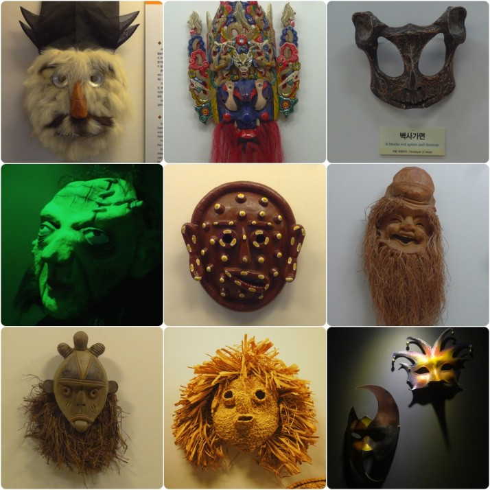 Some of the Masks on display at the Hahoe Mask Museum. Clockwise from top left: Yangban / Aristocrat (S.Korea); Tangu (China); Blocks evil spirits and demons (Himalayas of Nepal); Fortune-seeking mask (China); Carnival masks (Venice); Corn husk mask (North America); Unknown (tongue sticking out mask); Halloween (U.K.); Centre: Beopgotal (S. Korea)
