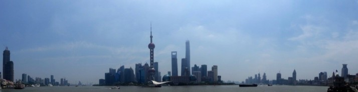 The Shanghai Pudong Financial District, including the 2nd tallest building in the world, the Shanghai Tower (centre right)