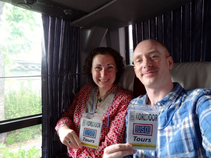 On the bus with USO badges