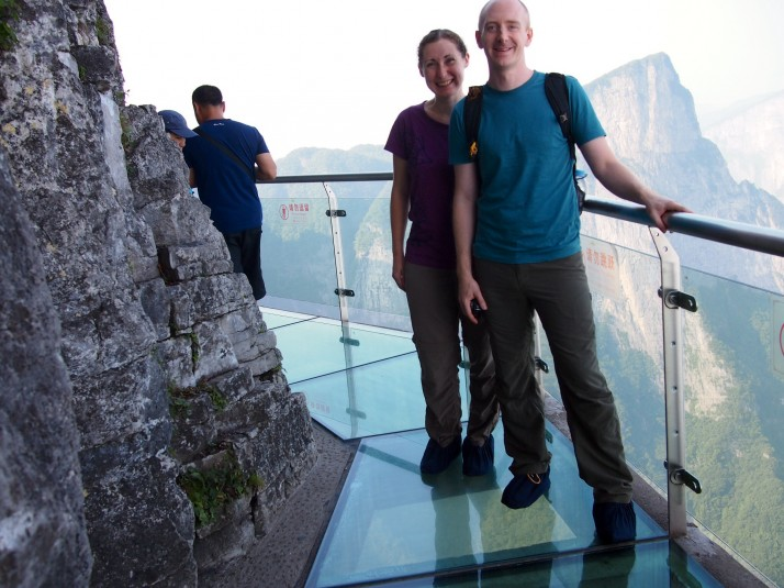 Us on the glass plank path
